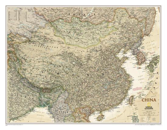 China Map Poster.National Geographic China Executive Map Laminated Poster