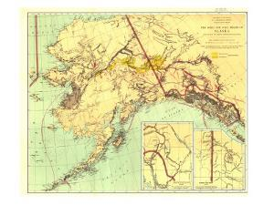1898 Gold and Coal Fields of Alaska Map by National Geographic Maps