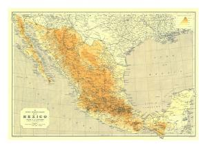 1914 Mexico Map by National Geographic Maps