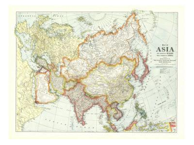 1921 Map of Asia with Europe and a portion of Africa by National Geographic Maps