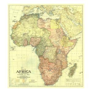 1922 Africa Map with portions of Europe and Asia by National Geographic Maps