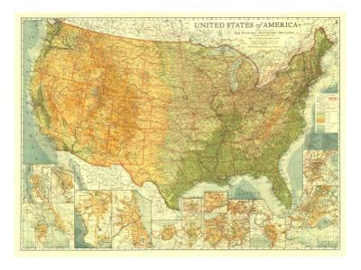 1923 United States of America Map by National Geographic Maps
