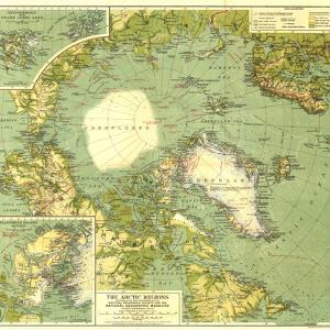 1925 Arctic Regions Map by National Geographic Maps