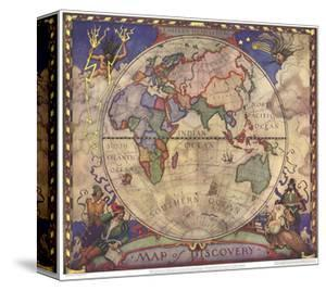 World maps canvas artwork for sale posters and prints at art 1928 map of discovery eastern hemisphere by national geographic maps gumiabroncs Images