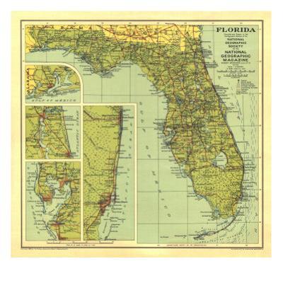 Longboat Key Florida Map.Beautiful Maps Of Florida Artwork For Sale Posters And Prints Art Com