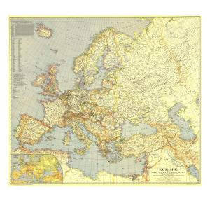 1938 Europe and the Mediterranean Map by National Geographic Maps