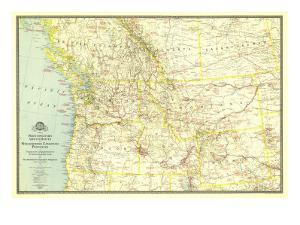 1941 Northwestern United States and Canadian Provinces Map by National Geographic Maps