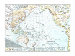 1943 Pacific Ocean, and the Bay of Bengal Map by National Geographic Maps