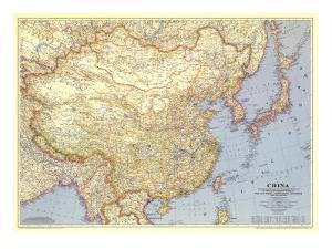 1945 China Map by National Geographic Maps