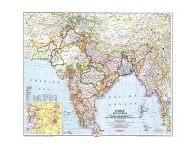 1946 India and Burma Map by National Geographic Maps