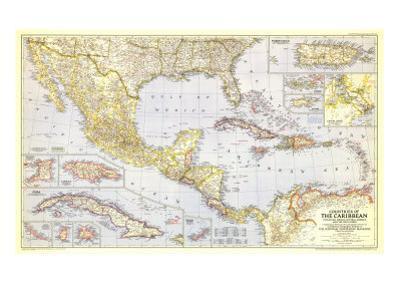 1947 Countries of the Caribbean Map by National Geographic Maps