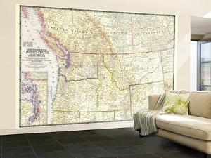 1950 Northwestern United States and Canadian Provinces Map by National Geographic Maps
