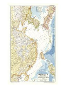 1953 China Coast and Korea Map by National Geographic Maps