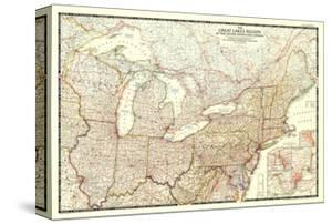 Maps Posters And Prints At Artcom - Us map great lakes