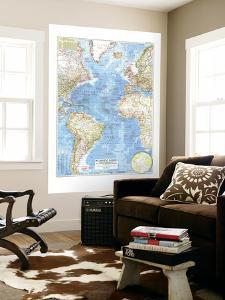 1955 Atlantic Ocean Map by National Geographic Maps