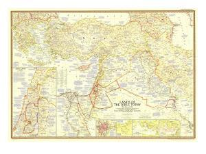 1956 Lands of the Bible Today Map by National Geographic Maps