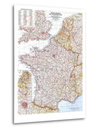 1960 France, Belgium and the Netherlands Map