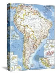 National geographic maps canvas artwork for sale prints and posters 1960 south america mapnational geographic maps gumiabroncs Gallery