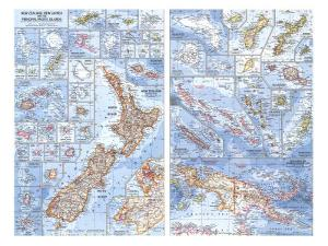 1962 New Zealand, New Guinea and the Principal Pacific Islands Map by National Geographic Maps