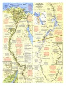 1965 Nile Valley, Land of the Pharaohs Map by National Geographic Maps