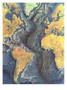 1968 Atlantic Ocean Floor Map by National Geographic Maps