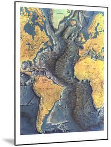 1968 Atlantic Ocean Floor Map by National Geographic Maps