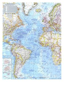 1968 Atlantic Ocean Map by National Geographic Maps