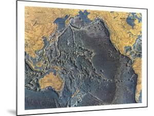 1969 Pacific Ocean Floor Map by National Geographic Maps