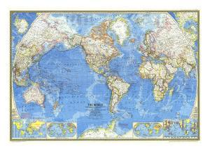 1970 World Map by National Geographic Maps