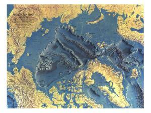 1971 Arctic Ocean Floor Map by National Geographic Maps