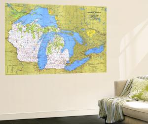 1973 Close-up USA, Wisconsin, Michigan, and the Great Lakes Map by National Geographic Maps