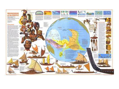 1974 Discoverers of the Pacific Map by National Geographic Maps