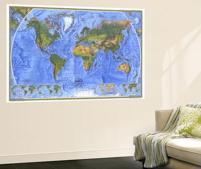 1975 Physical World Map