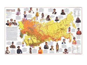 1976 Peoples of the Soviet Union Map by National Geographic Maps