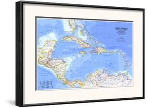 1981 West Indies and Central America Map by National Geographic Maps