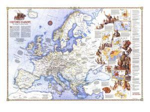 1983 History of Europe, the Major Turning Points Map by National Geographic Maps