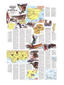 1984 Travelers Map of Spain and Portugal Theme by National Geographic Maps