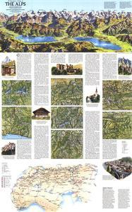 1985 A Traveler's Map of the Alps by National Geographic Maps