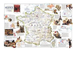 1989 Historical France Map by National Geographic Maps