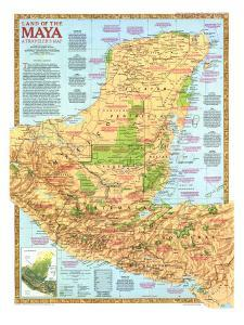 1989 Land of the Maya Map by National Geographic Maps