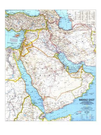photograph about Printable Maps of Middle East called Attractive Maps of The Centre East art for sale, Posters