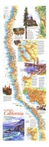 1993 Coastal California Map by National Geographic Maps