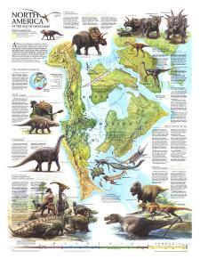 1993 North America in the Age of the Dinosaurs Map by National Geographic Maps