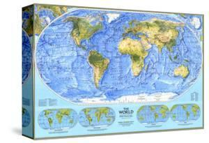 1994 World Physical Map by National Geographic Maps