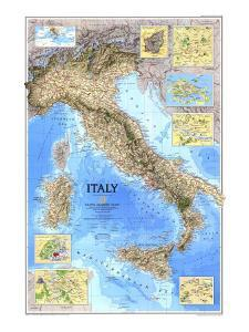 1995 Italy Map by National Geographic Maps