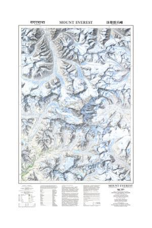 1999 Mount Everest/Himalayas Map by National Geographic Maps