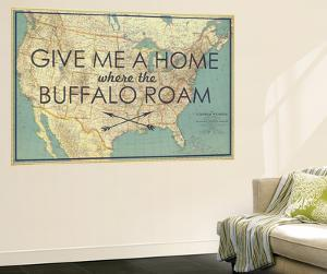 Give me a Home where the Buffalo Roam - 1933 United States of America Map by National Geographic Maps