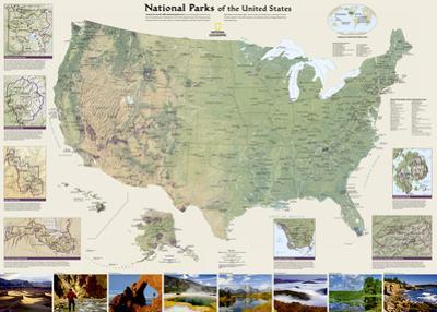 National Geographic - United States National Parks Map Laminated Poster by National Geographic Maps