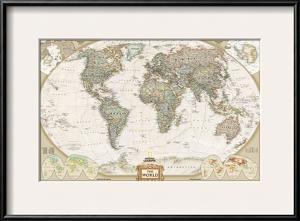 Beautiful maps artwork for sale posters and prints art world political map executive style gumiabroncs Gallery
