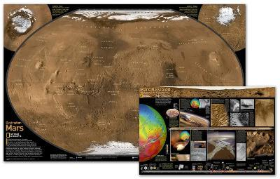 National Geographic - Mars Map , The Red Planet Map , Two-Sided Laminated Poster-National Geographic-Laminated Poster